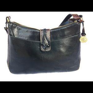 Brahmin Black handbag with brown accents
